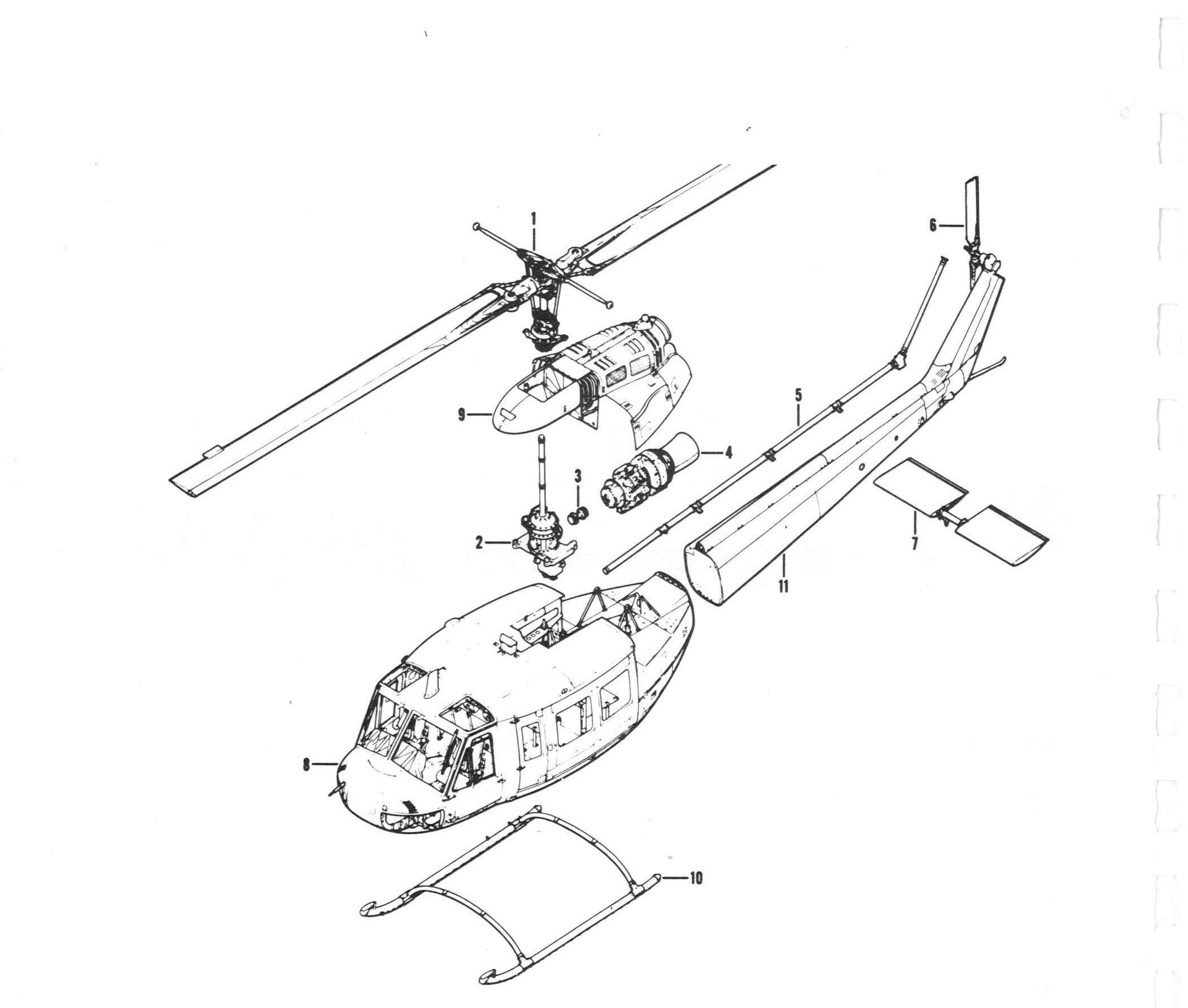 Exploded view of helicopter