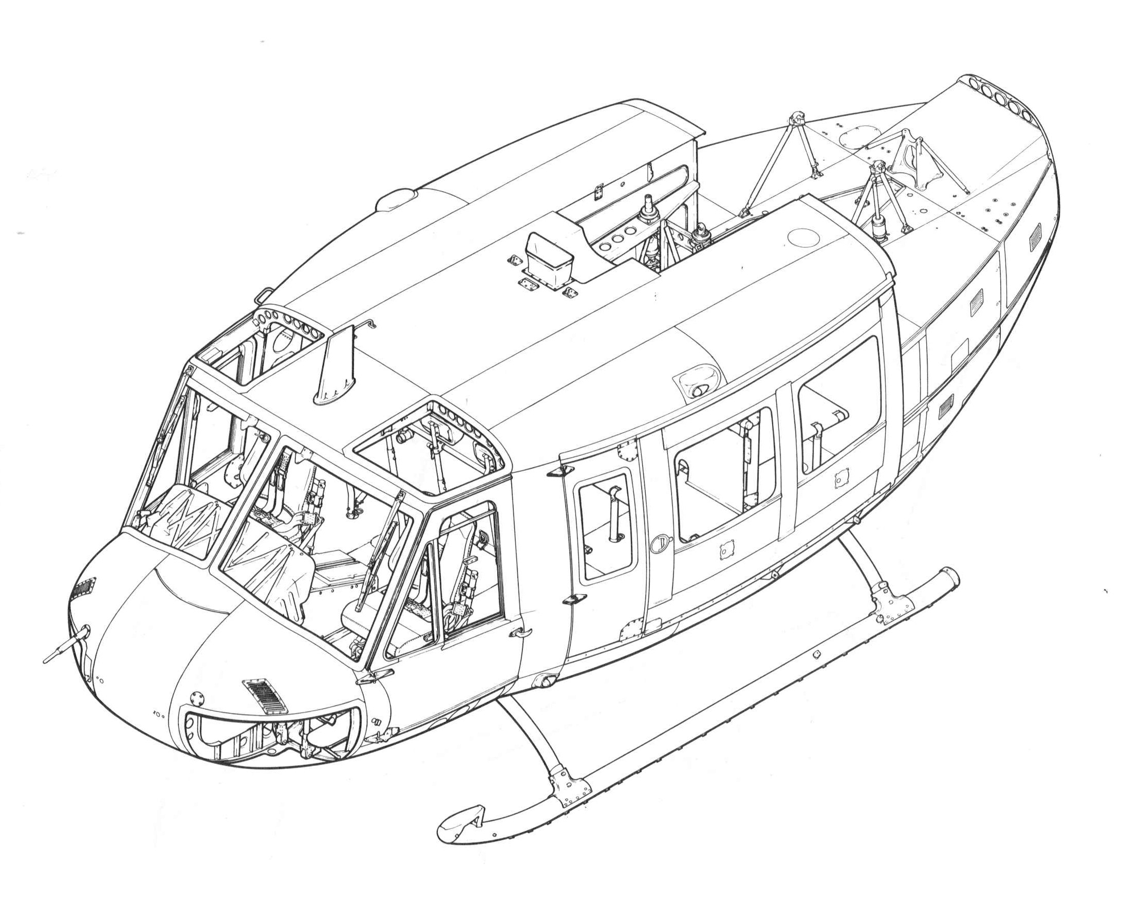 how to draw a huey helicopter